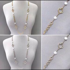 Pomina Jewelry - Long Silver Tone Statement Necklace Boho